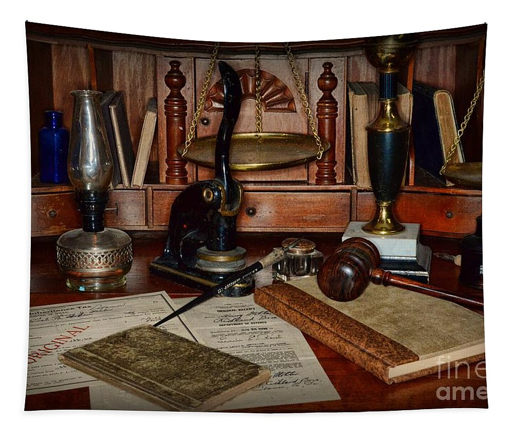 Paul Ward Tapestry featuring the photograph Lawyer - A Lawyers Desk by Paul Ward
