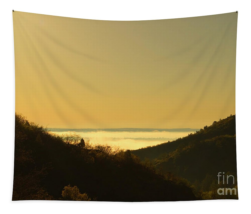 Manitou Springs Tapestry featuring the photograph Layer Of Fog Over Colorado Springs by Steve Krull