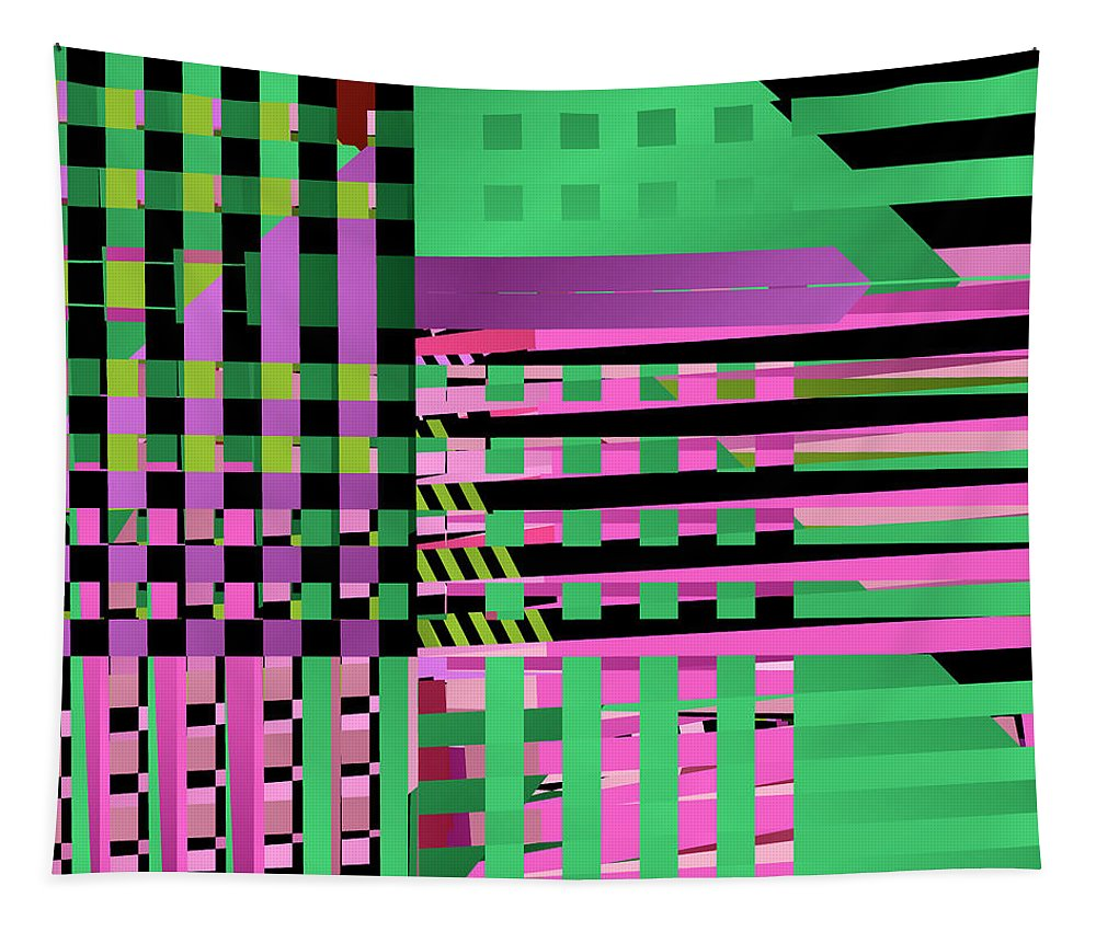 Abstract Tapestry featuring the digital art Layered Worlds by Ruth Moratz