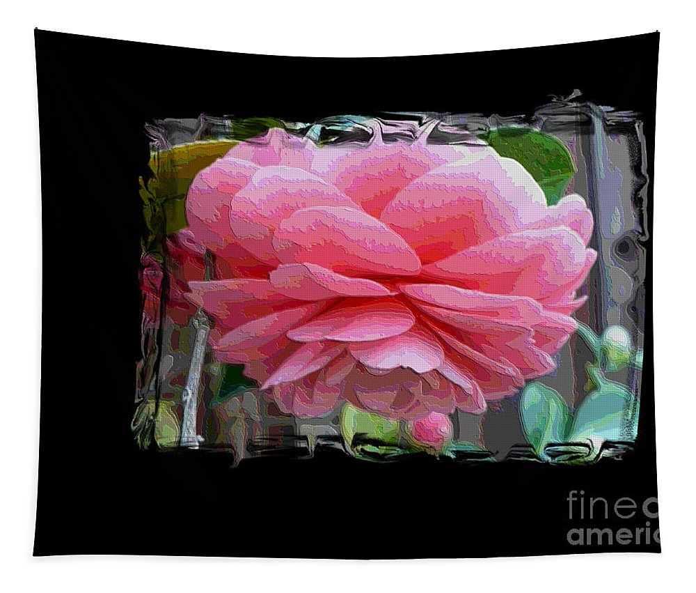 Pink Camellia Tapestry featuring the digital art Layers Of Pink Camellia Dream by Carol Groenen