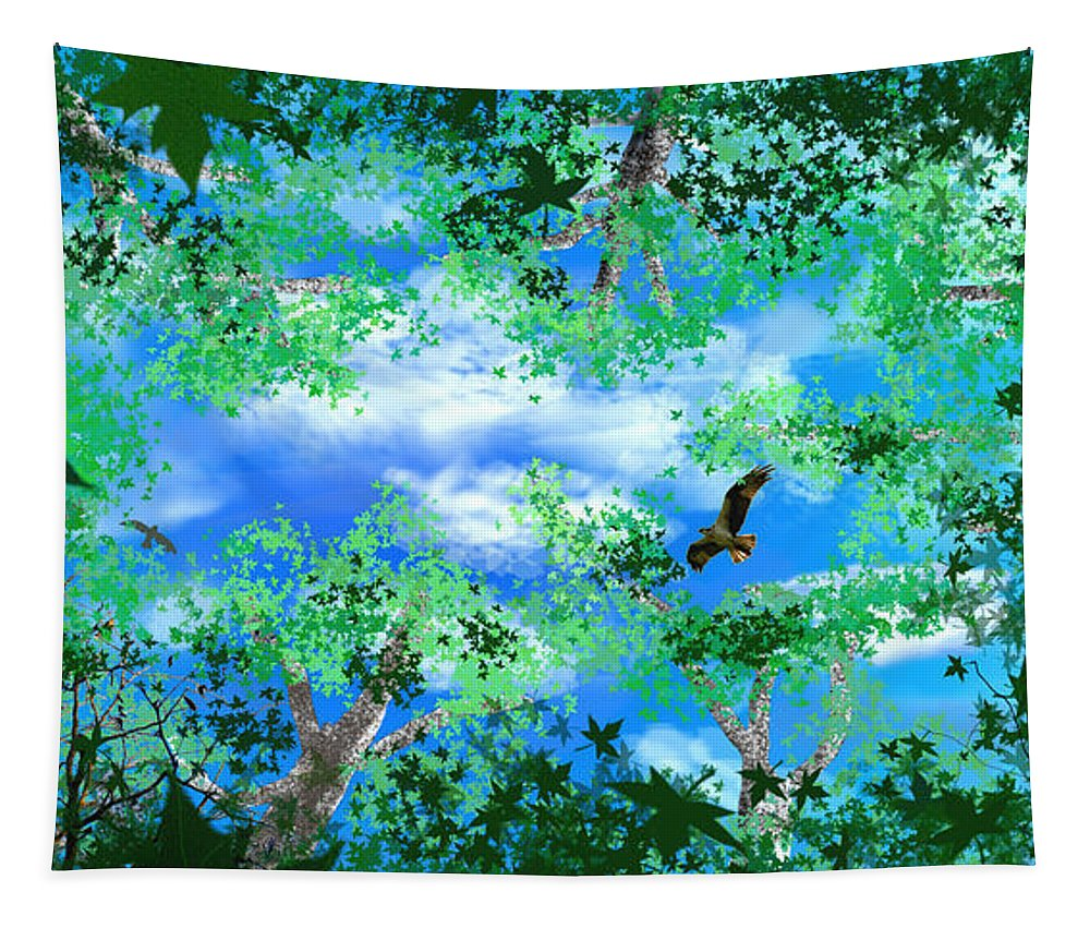 Skyscape Tapestry featuring the digital art Laying On A Hammock by Steve Karol