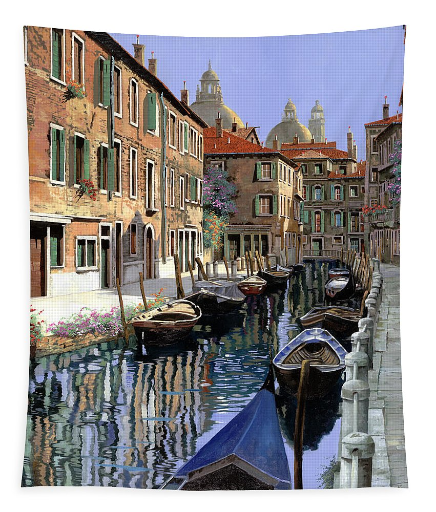 Venice Tapestry featuring the painting Le Barche Sul Canale by Guido Borelli