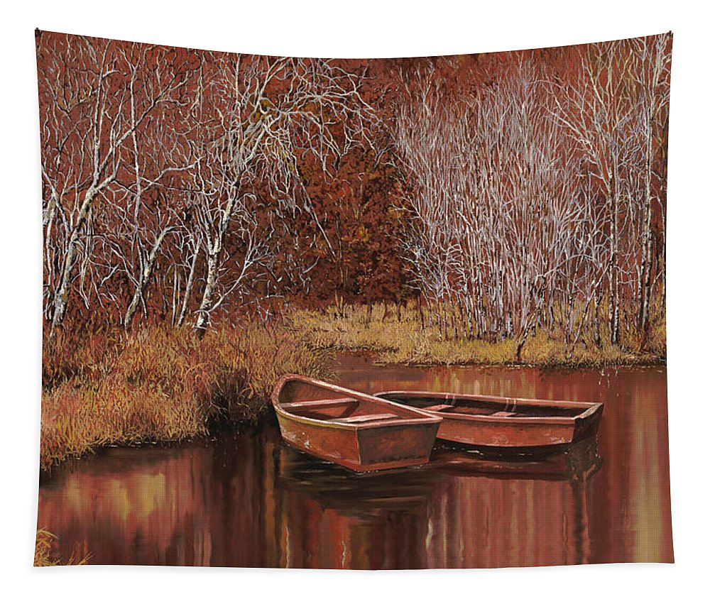 Boats Tapestry featuring the painting Le Barche Sullo Stagno by Guido Borelli