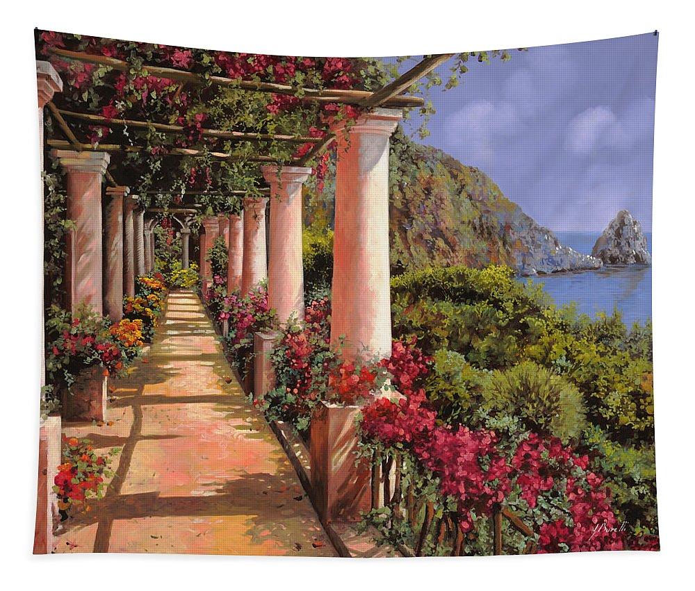 Bougainvillea Tapestry featuring the painting Le Colonne E La Buganville by Guido Borelli