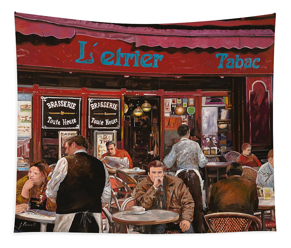 Brasserie Tapestry featuring the painting Le Mani In Bocca by Guido Borelli