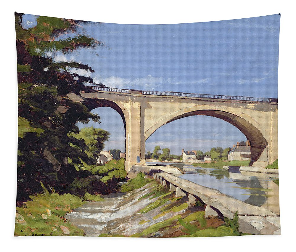 Pont Tapestry featuring the painting Le Pont Canal A Briare by Henri Joseph Harpignies