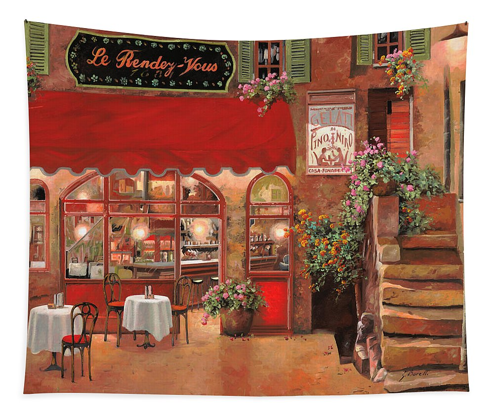 Caffe Tapestry featuring the painting Le Rendez Vous by Guido Borelli
