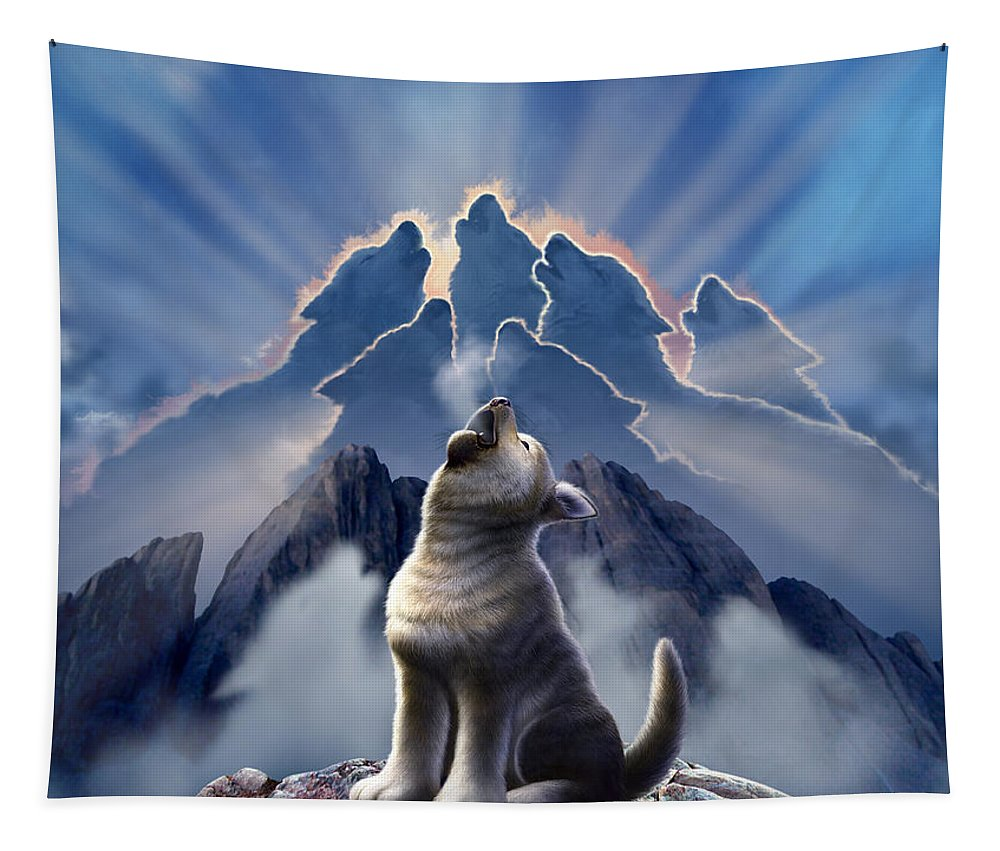 Wolf Tapestry featuring the digital art Leader of the Pack by Jerry LoFaro