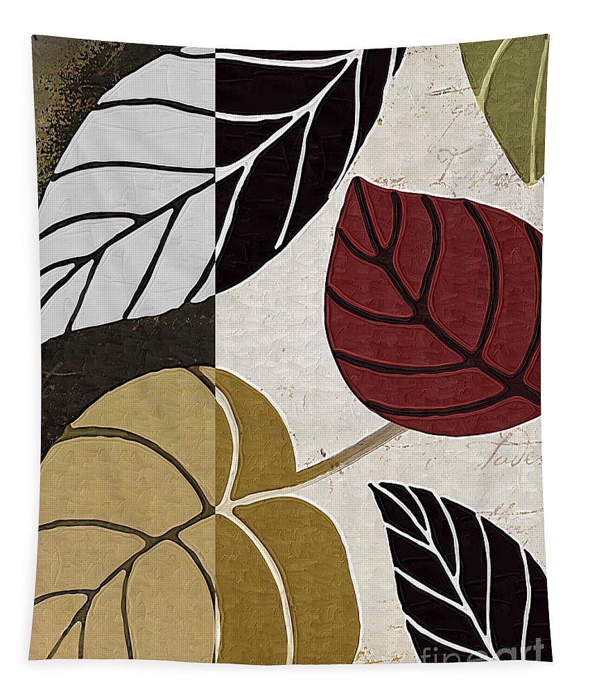 Leaf Tapestry featuring the painting Leaf Story by Mindy Sommers