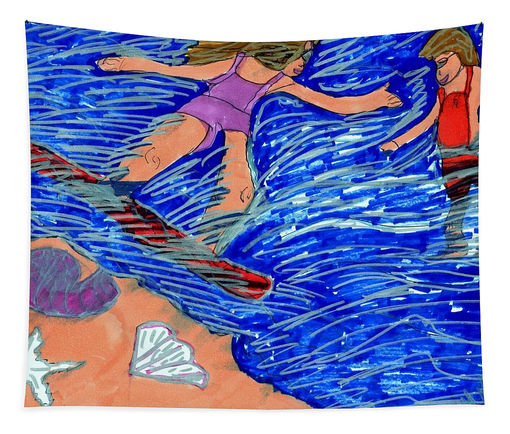 Girl Learning How To Surf Tapestry featuring the mixed media Learning How To Balance by Elinor Helen Rakowski