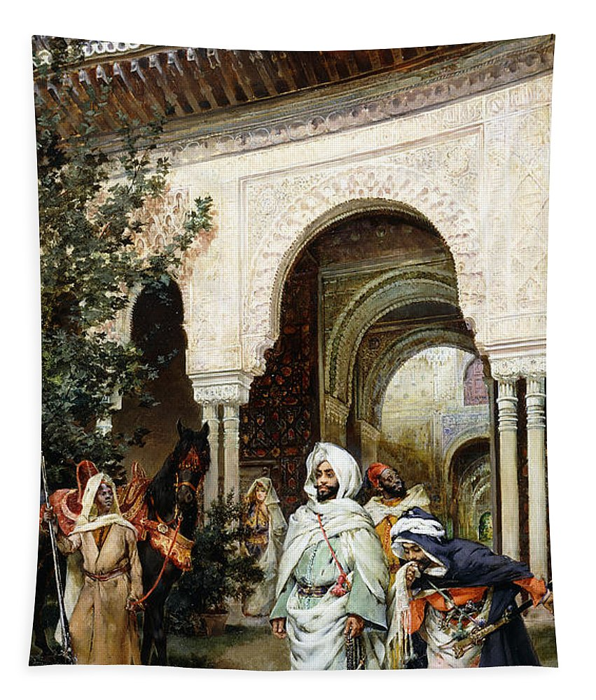 Alhambra Tapestry featuring the painting Leaving The Alhambra by Harry Humphrey Moore