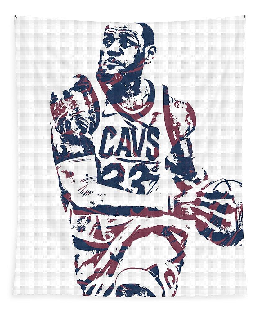 promo code b46fa df01c Lebron James Cleveland Cavaliers Pixel Art 50 Tapestry