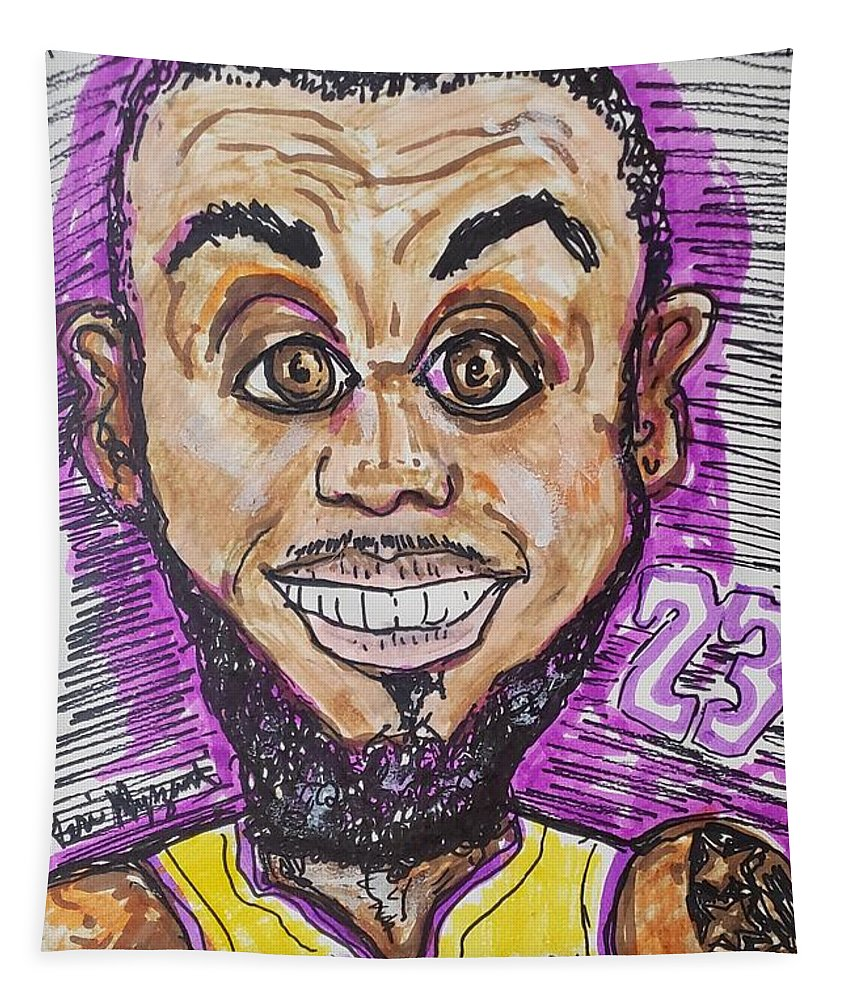 Lebron James Tapestry featuring the mixed media Lebron James Los Angeles Lakers by Geraldine Myszenski