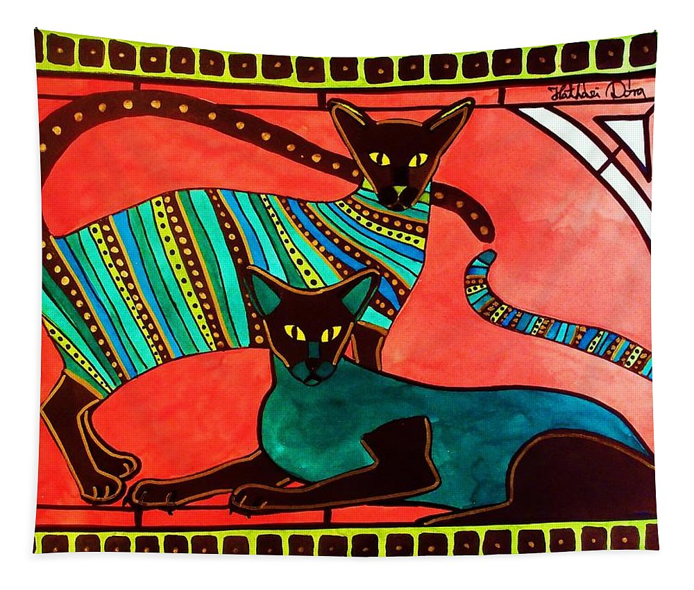 Cat Tapestry featuring the painting Legend Of The Siamese - Cat Art By Dora Hathazi Mendes by Dora Hathazi Mendes