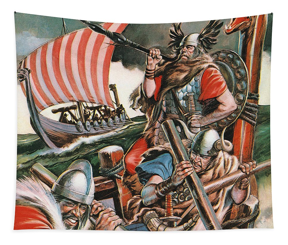 Lief Tapestry featuring the painting Leif Ericsson, The Viking Who Found America by Peter Jackson