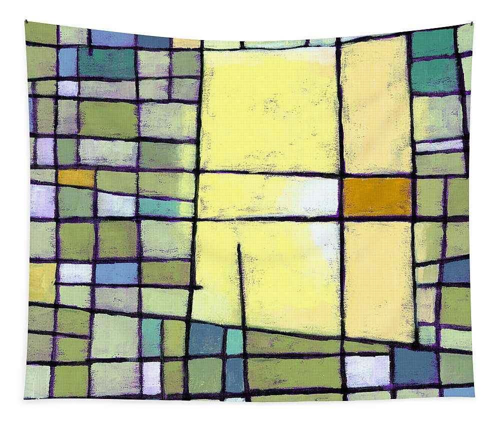 Abstract Tapestry featuring the painting Lemon Squeeze by Douglas Simonson