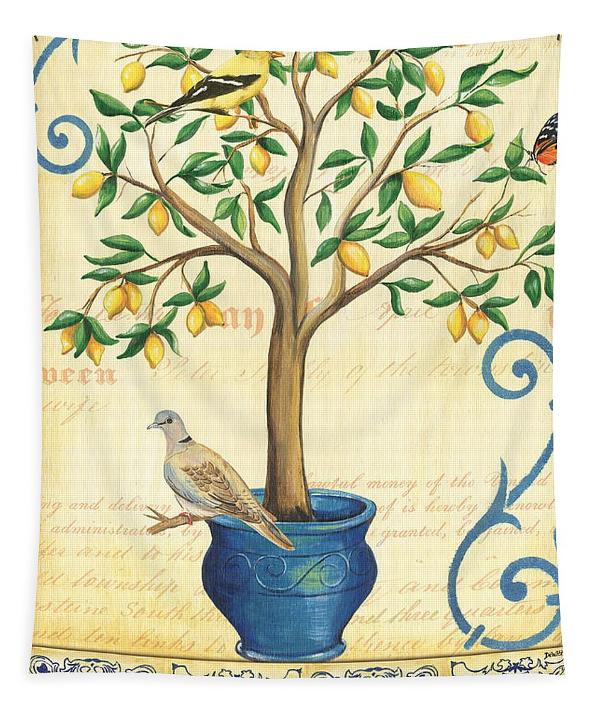 Lemon Tapestry featuring the painting Lemon Tree Of Life by Debbie DeWitt