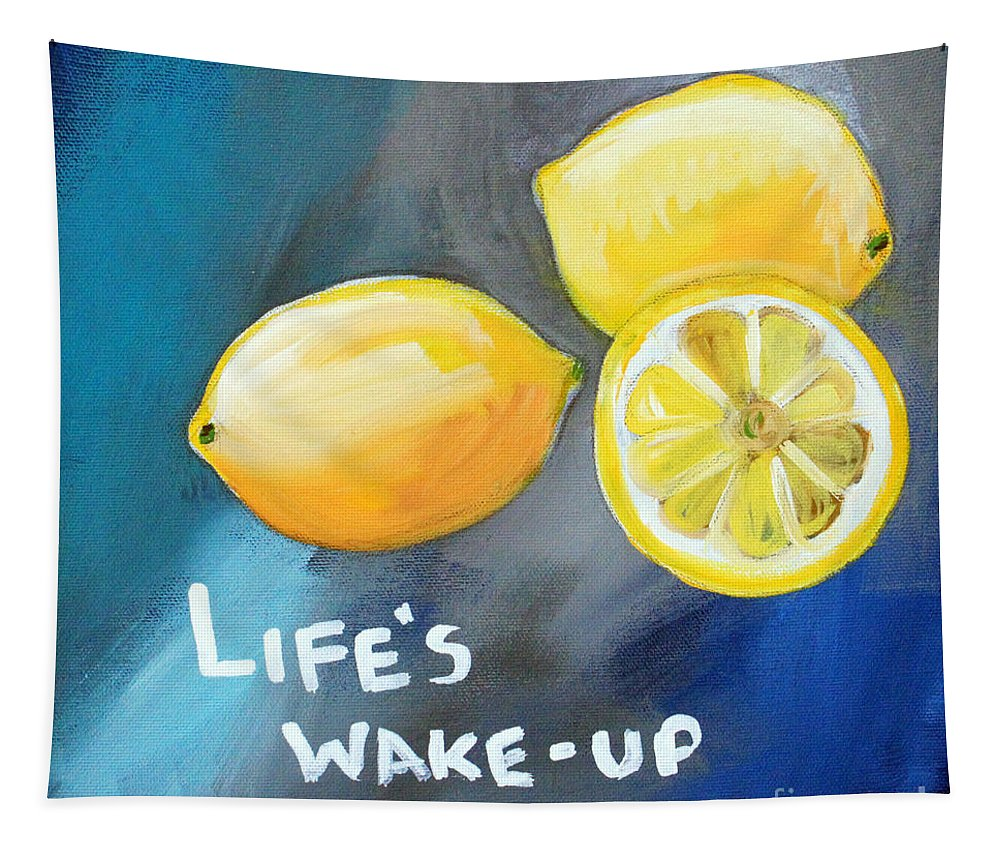 Lemon Tapestry featuring the painting Lemons by Linda Woods
