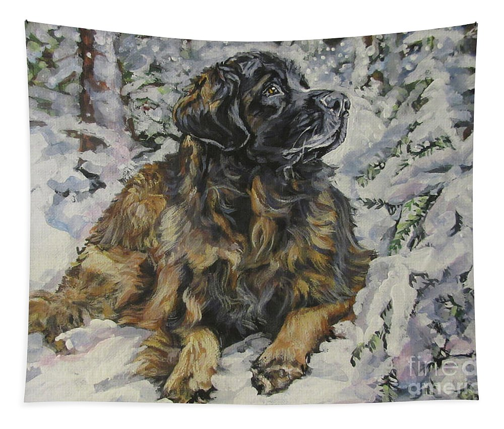 Leonberger Tapestry featuring the painting Leonberger In The Snow by Lee Ann Shepard