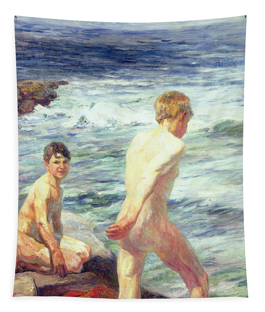 Bathers; Bathing; Beach; Seashore; Seaside; Rocks; Nude; Male; C19th; C20th Tapestry featuring the painting Les Baigneurs by Jean Delvin