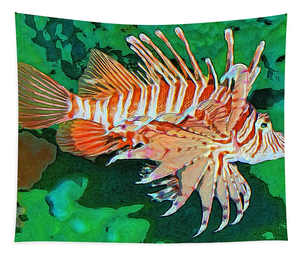 Fish Tapestry featuring the painting Lester by Dominic Piperata