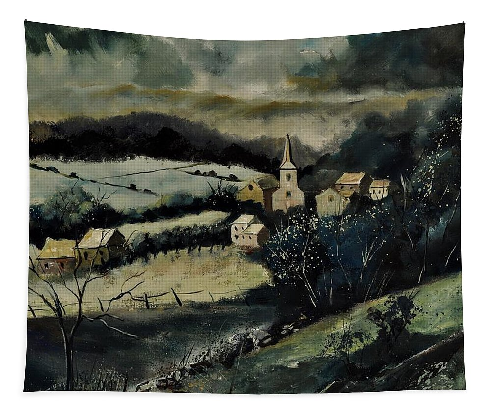 Landscape Tapestry featuring the painting Lesterny by Pol Ledent
