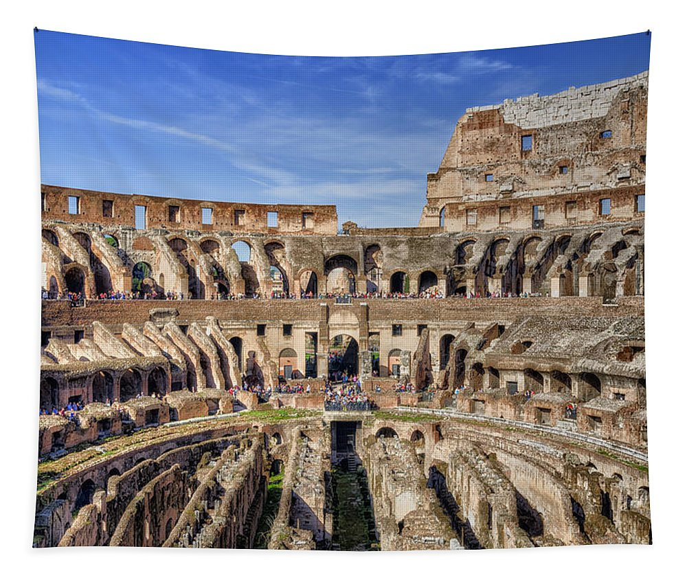 Amphitheater Tapestry featuring the photograph Let The Games Begin by Joan Carroll