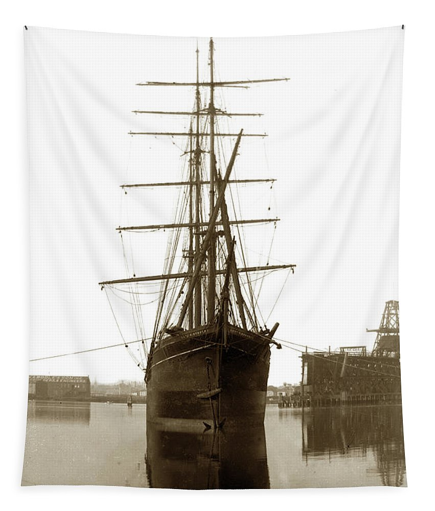 American Windjammer Tapestry featuring the photograph Levi G. Bururgess Bark Circa 1903 by California Views Archives Mr Pat Hathaway Archives