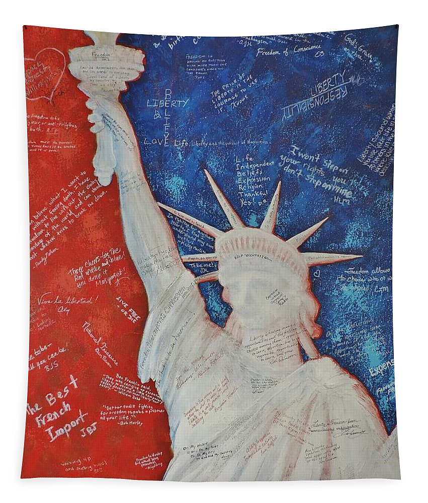 Statue Of Liberty Tapestry featuring the painting Liberty Is... by Margaret Bobb