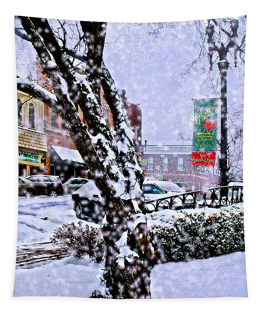 Landscape Tapestry featuring the photograph Liberty Square In Winter by Steve Karol
