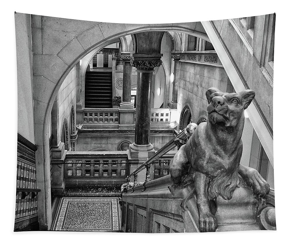 Library Tapestry featuring the photograph Library Dog by Philip Openshaw
