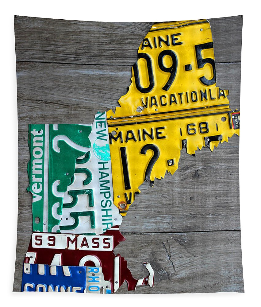 License Plate Map Of New England States. Tapestry featuring the mixed media License Plate Map Of New England States by Design Turnpike