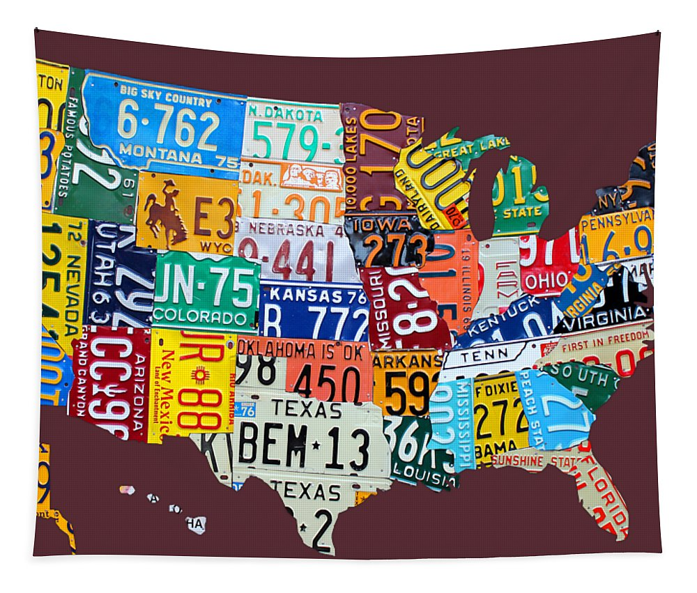 Art Tapestry featuring the mixed media License Plate Map Of The United States by Design Turnpike