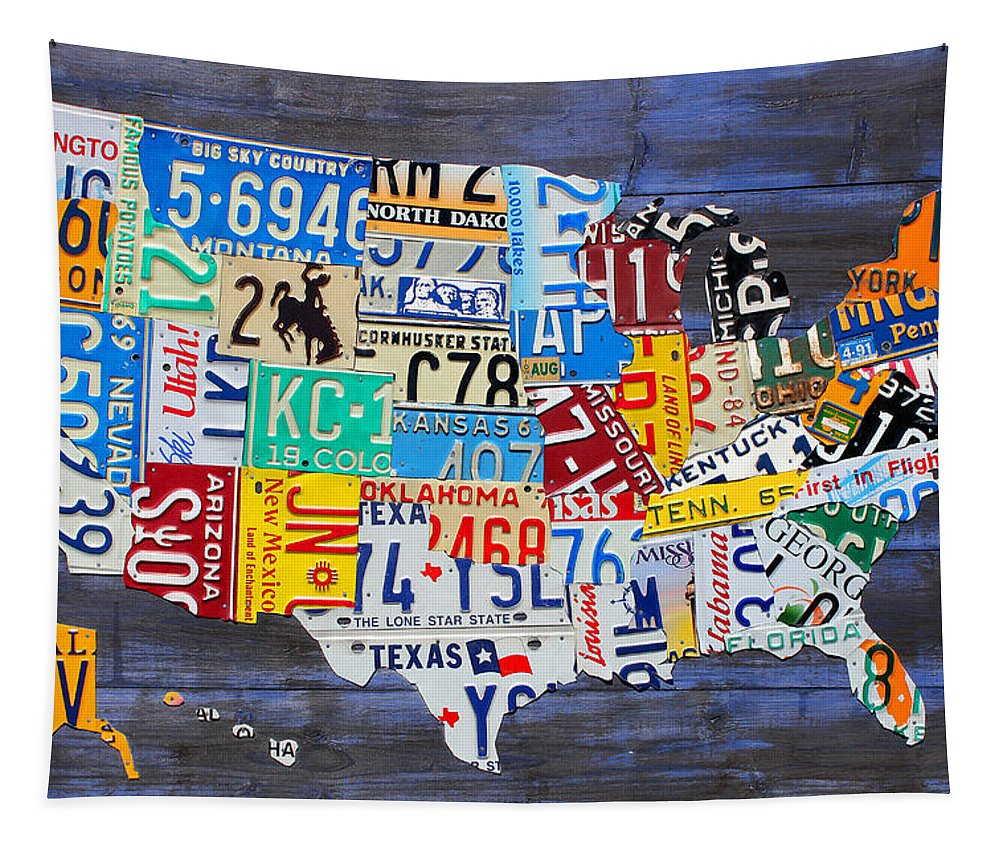 License Plate Tapestry featuring the mixed media License Plate Map Of The Usa On Blue Wood Boards by Design Turnpike