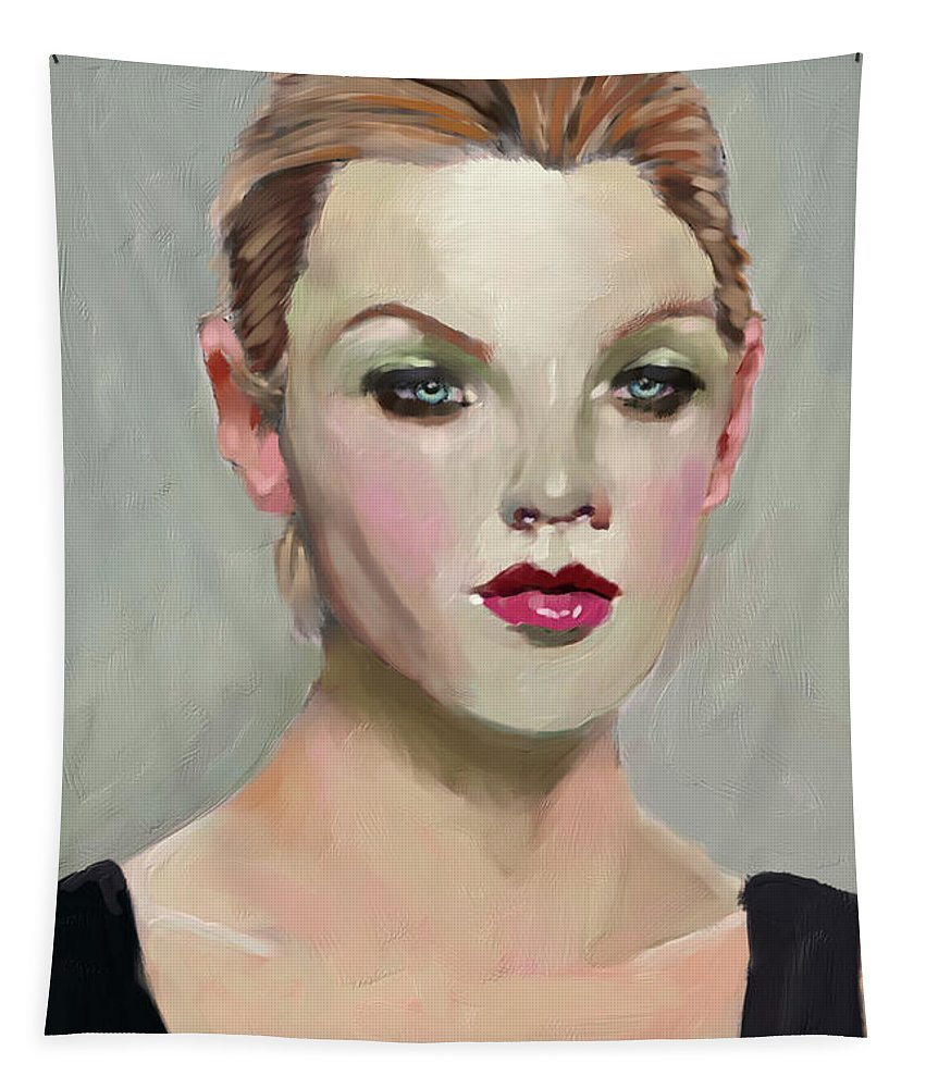 Figure Tapestry featuring the digital art Liepke Color Palette Lady by Scott Bowlinger