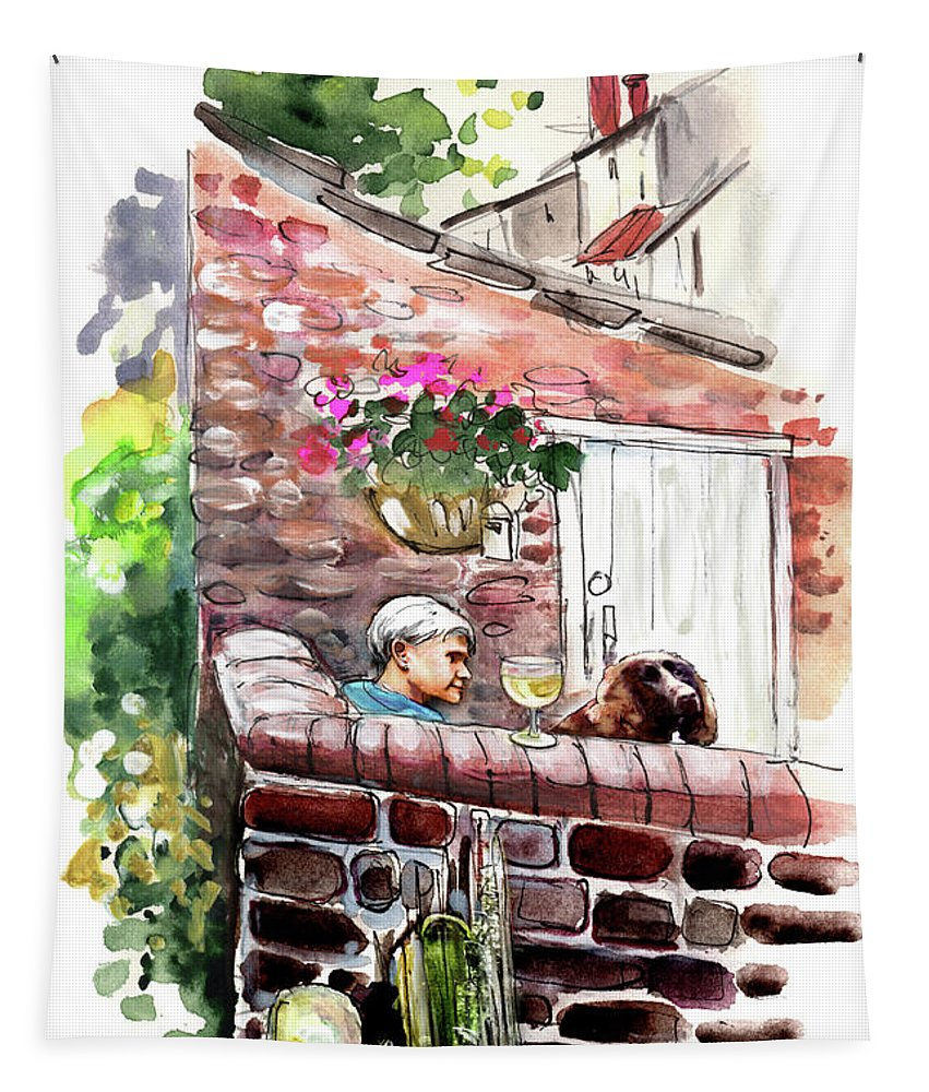 Travel Tapestry featuring the painting Life In Robin Hoods Bay by Miki De Goodaboom