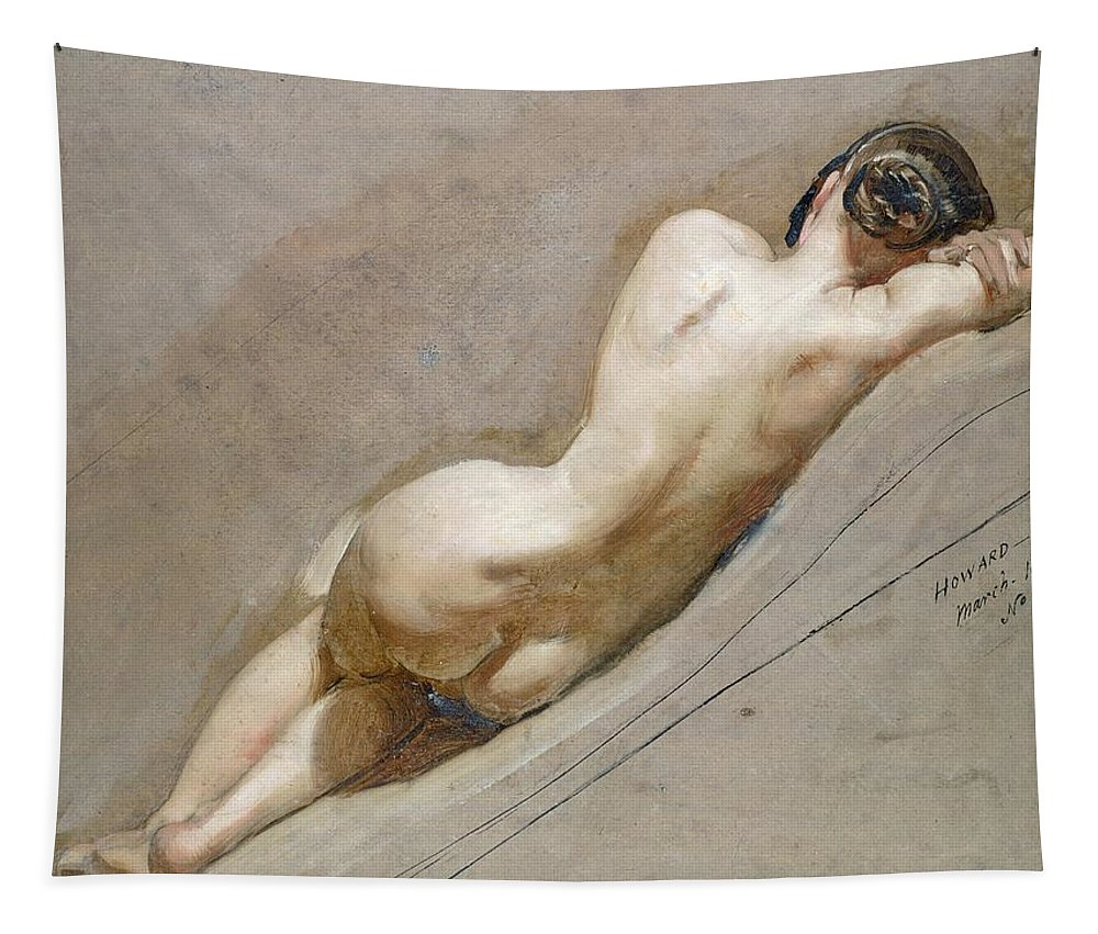 Nude; Back Tapestry featuring the painting Life Study Of The Female Figure by William Edward Frost