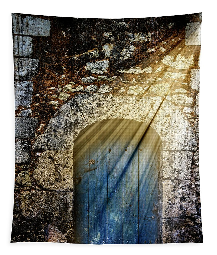 French Tapestry featuring the photograph Light At The Blue Door by Debra and Dave Vanderlaan