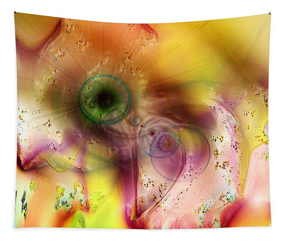Abstract Art Tapestry featuring the digital art Lightbulb Sun by Linda Sannuti