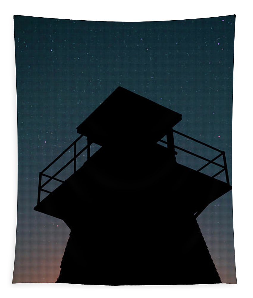 Night Tapestry featuring the photograph Lighthouse At Night Prince Edward Island by Edward Fielding