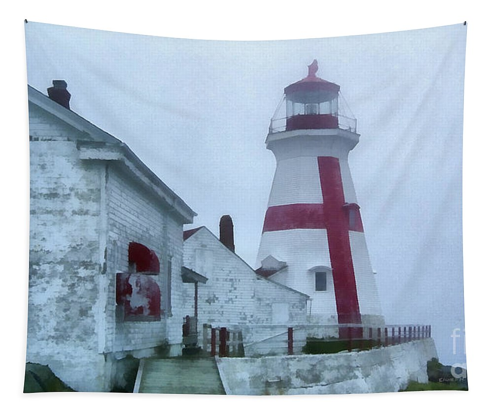 Fog Tapestry featuring the painting Lighthouse In The Fog by Edward Fielding