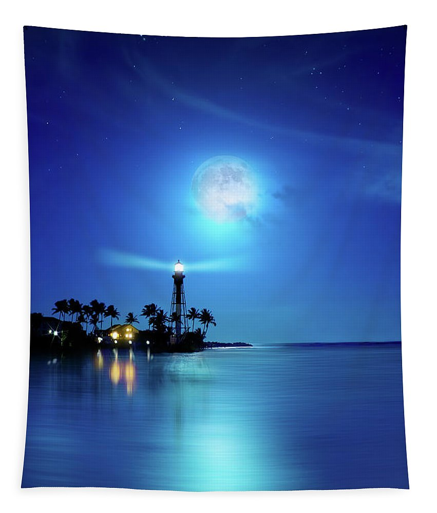 Hillsboro Lighthouse Tapestry featuring the photograph Lighthouse Moon by Mark Andrew Thomas