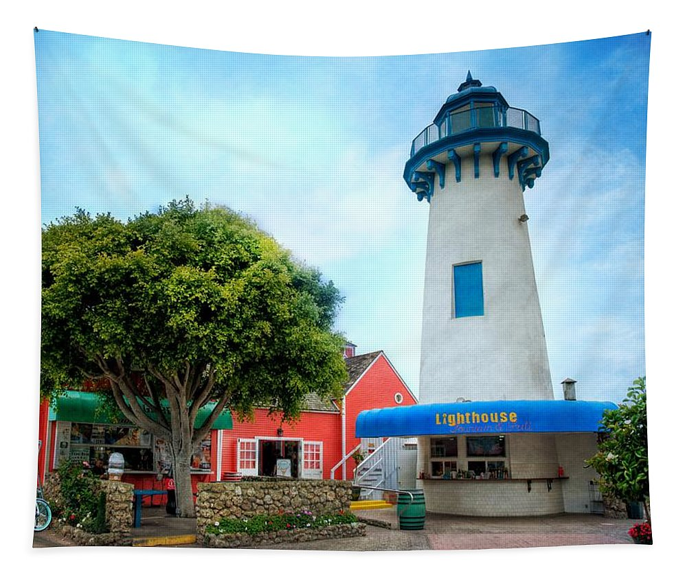 Fisherman's Village Tapestry featuring the photograph Lighthouse Seaside Cafe by Lynn Bauer