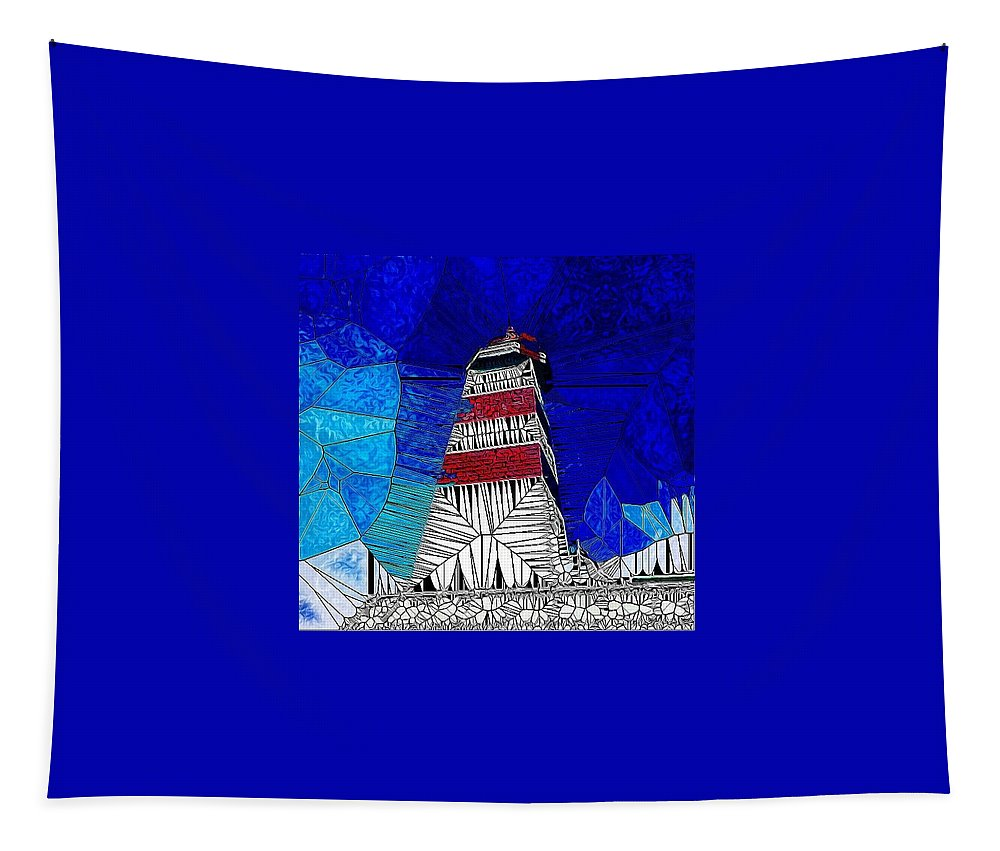 Lighthouse Tapestry featuring the digital art Lighthouse Stained Glass by Mo Barton