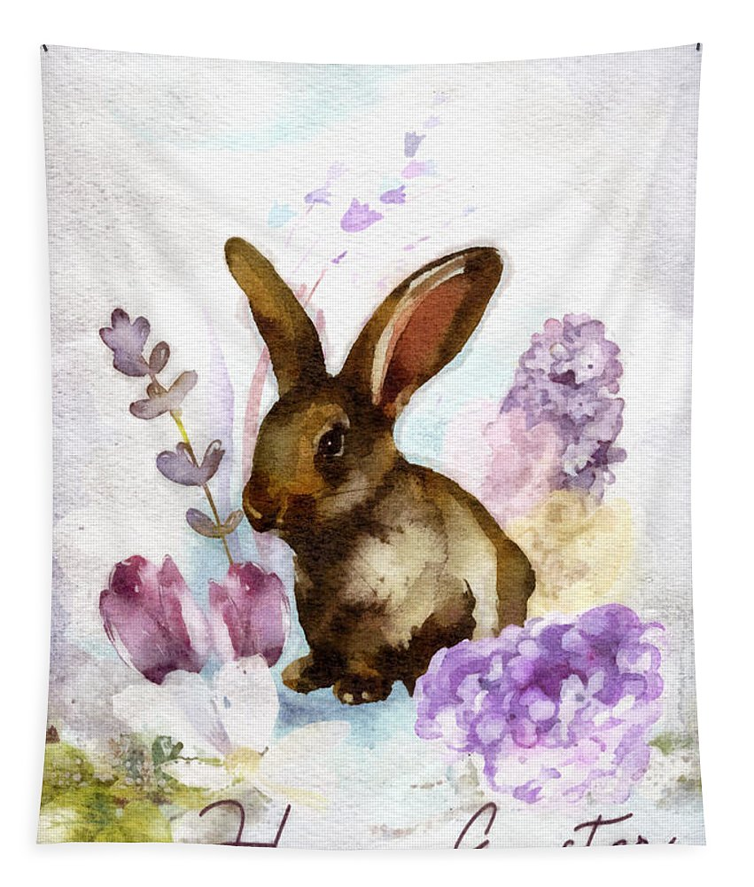 Lilac And Bunny Tapestry featuring the painting Lilac And Bunny by Mo T