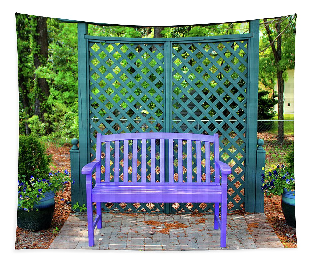Lilac Tapestry featuring the photograph Lilac And Teal Garden by Cynthia Guinn