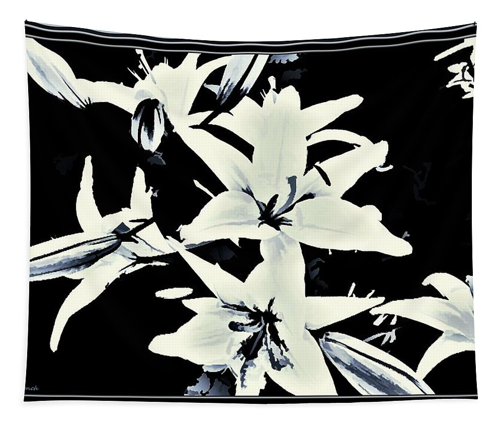 Cream/white Tapestry featuring the mixed media Lilies All Aglow by Debra Lynch