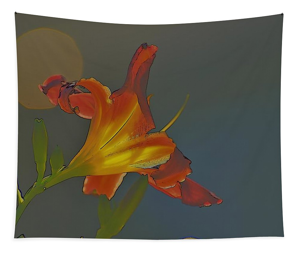 Linda Brody Tapestry featuring the photograph Lily Abstract Dark Background Bright Flower by Linda Brody