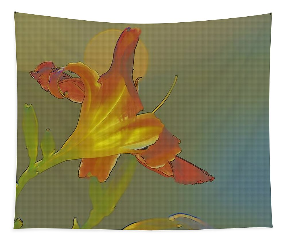 Linda Brody Tapestry featuring the photograph Lily Abstract Medium Background Medium Toned Flower by Linda Brody