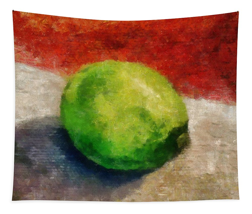 Lime Tapestry featuring the painting Lime Still Life by Michelle Calkins